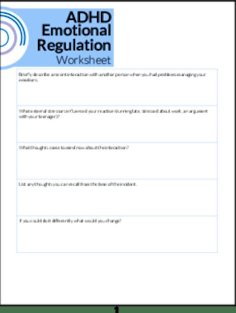 Plr Worksheets Adhd Emotional Regulation Worksheet Plr Me
