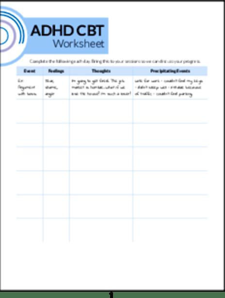 PLR Worksheets - ADHD CBT Worksheet - PLR.me