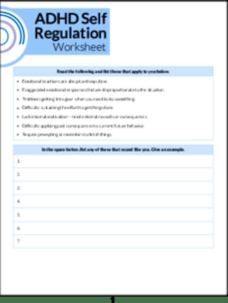 ADHD Self Regulation Worksheet