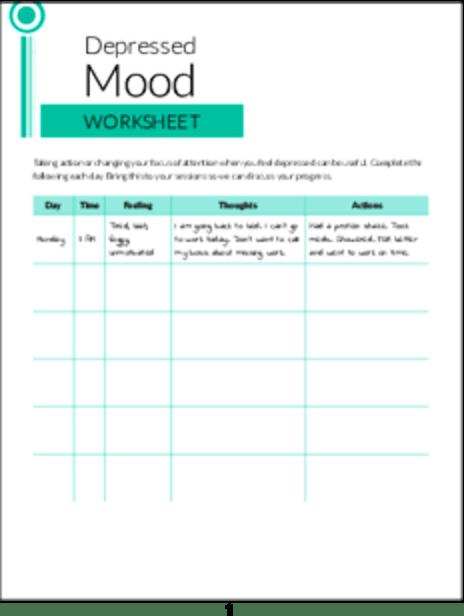 Plr Worksheets Depressed Mood Worksheet Plr Me