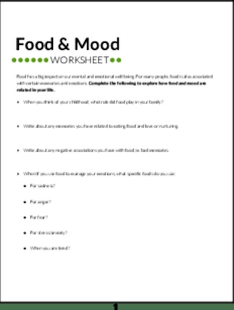 Plr Worksheets Food And Mood Worksheet Plr Me