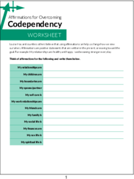 PLR Worksheets - Affirmations For Overcoming Codependency Worksheet ...