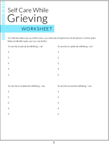 PLR Worksheets - Self Care While Grieving Worksheet - PLR.me