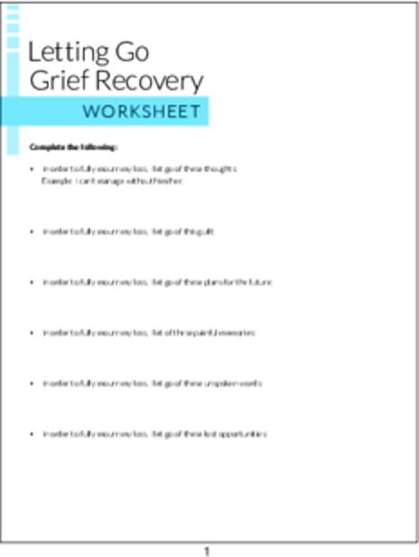 PLR Worksheets - Letting Go Grief Recovery Worksheet - PLR.me