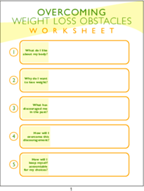 plr worksheets overcoming weight loss obstacles worksheet plr me