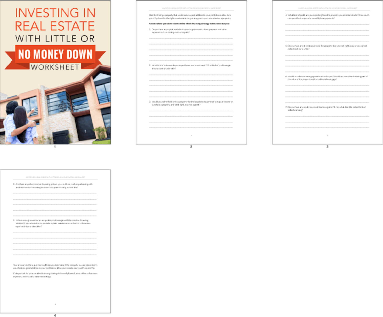 Investing In Real Estate With Little Or No Money Down Worksheet